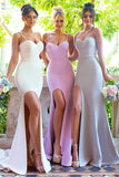 Sheath Court Train Sweetheart Spaghetti Sleeveless Side Slit Cheap Bridesmaid Dress B217 - Ombreprom