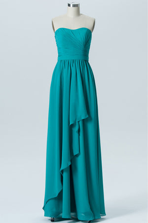 Peacock Green A Line Floor Length Sweetheart Strapless Sleeveless Cheap Bridesmaid Dresses