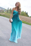 Ombre A Line Floor Length Sweetheart Sleeveless Backless Prom Dress,Formal Dress