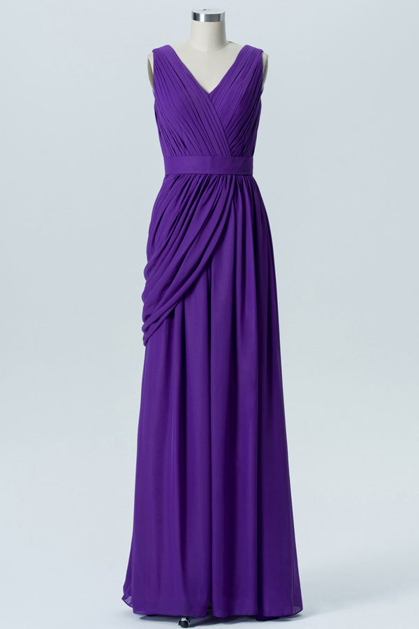 Royal Purple A Line Floor Length V Neck Sleeveless Deep V Back Cheap Bridesmaid Dresses