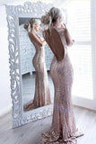 Mermaid/Trumpet Sweep Train Jewel Nack Sleeveless Keyhole Back Rose Gold Sparkle Prom Dress P63 - Ombreprom