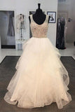 A Line Floor Length Scoop Neck Sleeveless Ruffles Beading Prom Dress,Wedding Gowns W283
