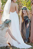 A Line Brush Train Halter Sleeveless Backless Chiffon Wedding Dress,Beach Wedding Dress W232