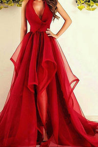Red A Line Court Train Deep V Neck Sleeveless Ruffles Long Prom Dress,Party Dress P184 - Ombreprom
