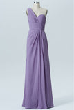 Lavender Grey A Line Floor Length One Shoulder Sleeveless Open Back Cheap Bridesmaid Dresses