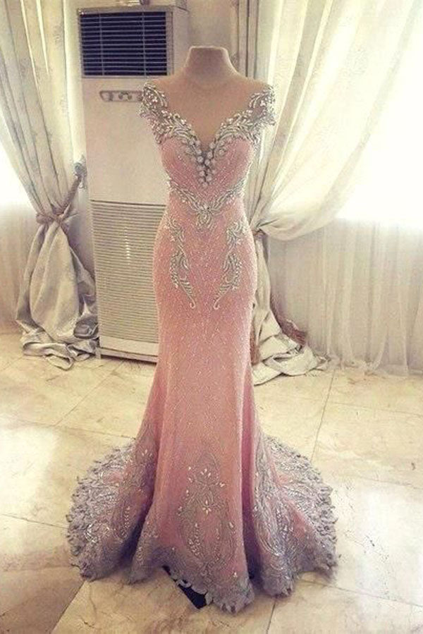 Pink Sheath Court Train Capped Sleeve Sheer Back Beading Prom Dress,Party Dress