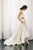 White Two Piece A Line Asymmetrical Sleeveless Satin Wedding Dress,Beach Wedding Dress
