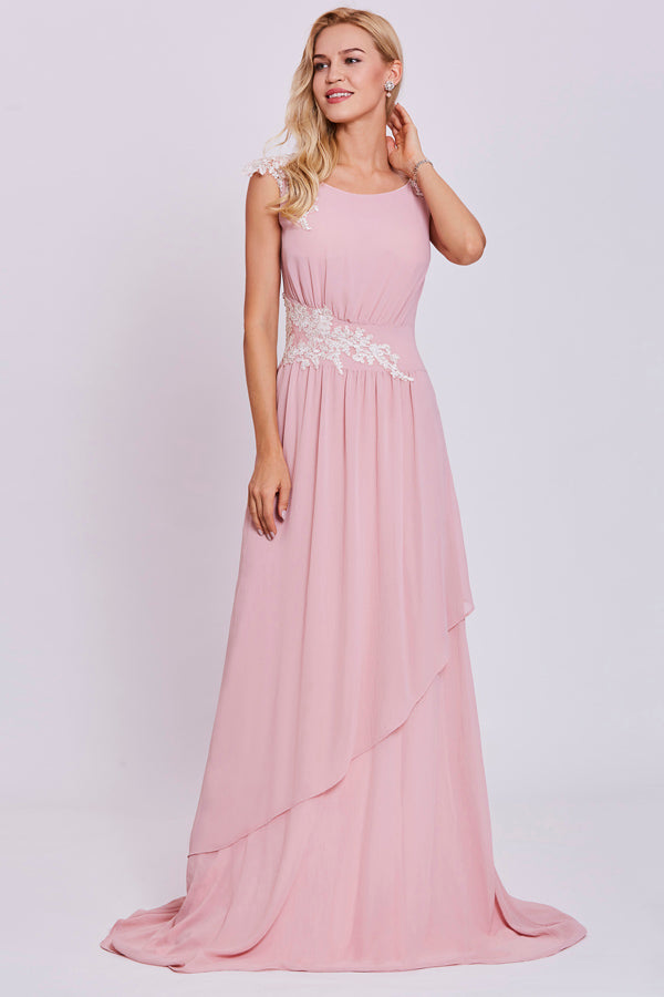 Pink A Line Brush Train Sleeveless Zipper Back Chiffon Prom Dress,Party Dress