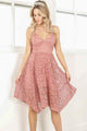 Cute V-Neck Lace Knee Length A-Line Princess Homecoming Dress M456