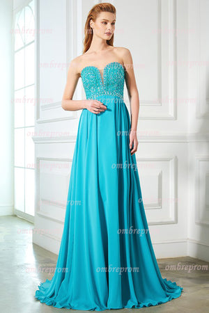 Green A Line Sweep Train Strapless Sleeveless Open Back Beading Prom Dress,Party Dress