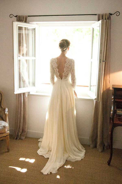 White A Line Sweep Train Long Sleeve Open Back Lace Wedding Gown ...