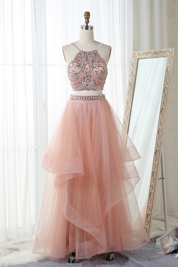 Pink Two Piece Floor Length Halter Sleeveless Backless Beading Prom Dress,Formal Dress