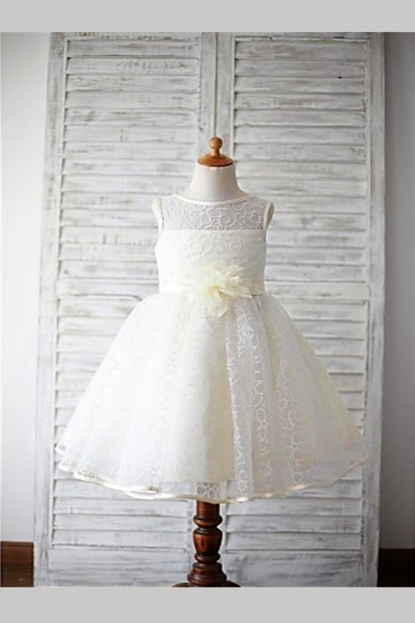 Ivory A Line Floor Length Scoop Neck Sleeveless Flower Girl Dresses,Baby Dress
