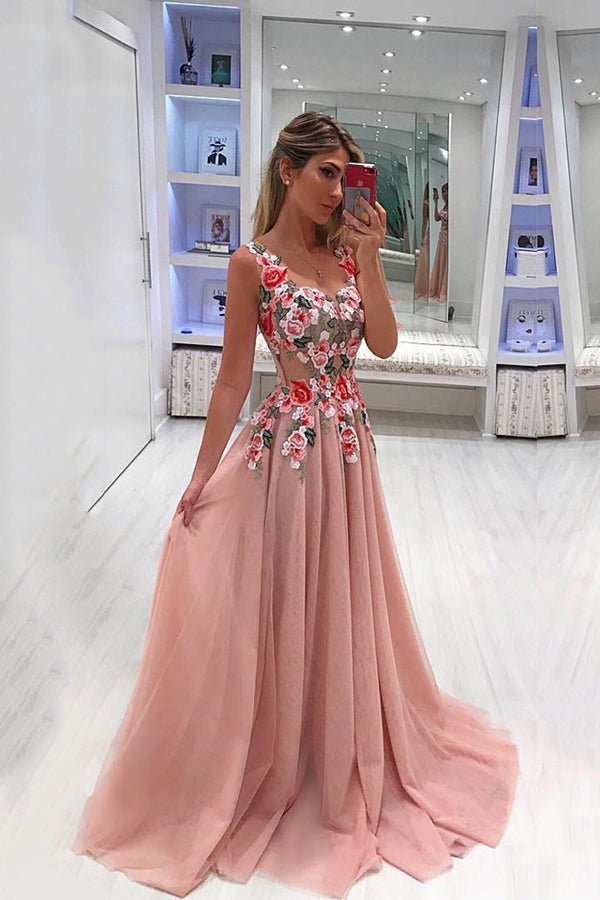 Chic Sweetheart Sleeveless Sweep Train Chiffon With Appliques Prom Dress P753