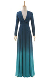 Ombre A Line Floor Length Deep V Neck Long Sleeve Prom Dress,Bridesmaid Dress