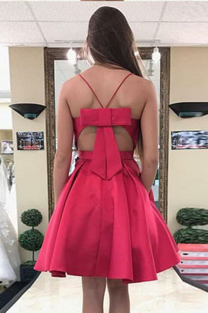 Red Sweetheart Spaghetti Homecoming Dresses,Open Back Short Prom Dress HCD137 - Ombreprom
