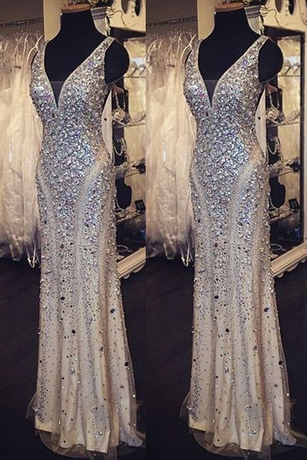 Golden Sheath Floor Length Deep V Neck Sleeveless Beading Long Prom Dress,Party Dress