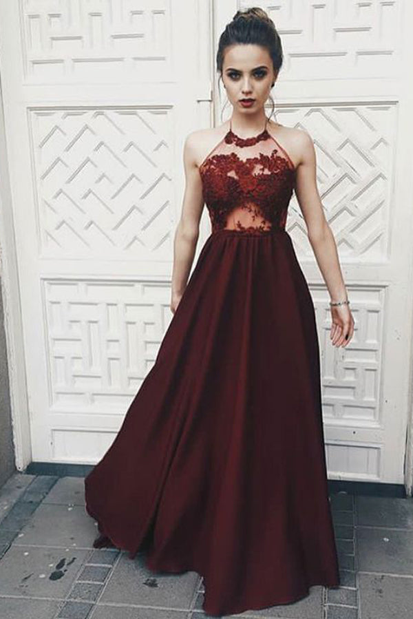 Burgundy A Line Floor Length Halter Sleeveless Appliques Prom Dress,Party Dress P511 - Ombreprom