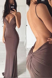 Sexy Sheath Sweep Train Deep V Neck Sleeveless Backless Long Prom Dress,Party Dress