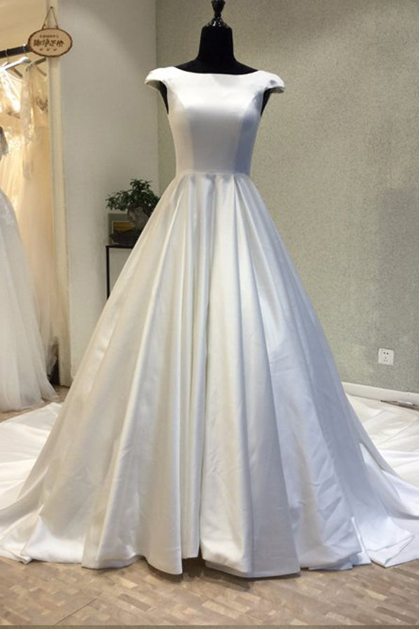 Silver Ball Gown Chaple Train Capped Sleeve Lace Up Prom Dress,Party Dress