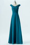 Winter Teal A Line Floor Length Capped Sleeve Chiffon Cheap Bridesmaid Dresses