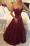 Burgundy A Line Floor Length Deep V Neck Sparkle Prom Dress,Party Dress P329 - Ombreprom