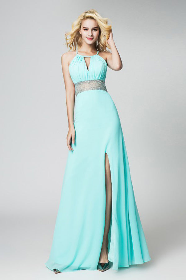 Mint A Line Floor Length Halter Sleeveless Open Back Side Slit Prom Dress,Party Dress