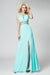 Mint A Line Floor Length Halter Sleeveless Open Back Side Slit Prom Dress,Party Dress P523