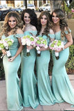 Mint Green Mermaid Court Train Off Shoulder Appliques Cheap Bridesmaid Dress B268 - Ombreprom