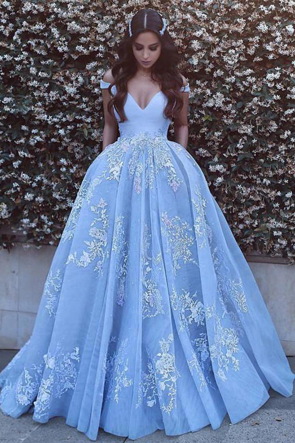 Blue Ball Gown Court Train V Neck Off Shoulder V Back Long Prom Dress,Party Dress P183 - Ombreprom
