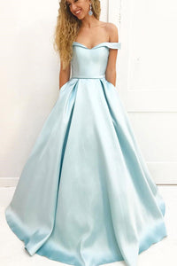Light Blue A Line Brush Train Off Shoulder Sleeveless Prom Dress,Party Dress P482