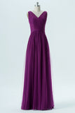 Vintage Violet A Line Floor Length V Neck Sleeveless Chiffon Cheap Bridesmaid Dresses