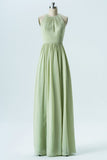Seafoam Green A Line Floor Length Halter Sleeveless Chiffon Cheap Bridesmaid Dresses