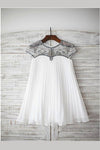 A Line Floor Length Jewel Neck Capped Sleeve Beading Chiffon Flower Girl Dresses,Baby Dress F10 - Ombreprom