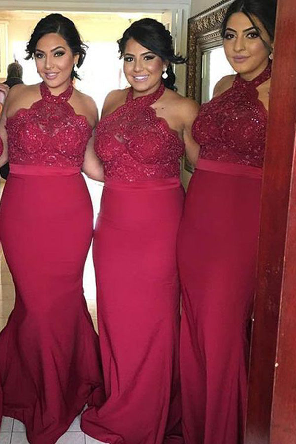Burgundy Mermaid Sweep Train Halter Sleeveless Appliques Cheap Bridesmaid Dress B285 - Ombreprom