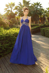 Blue A Line Straps Floor Length Beading Sleeveless Chiffon Prom Dress,Party Dress P392 - Ombreprom