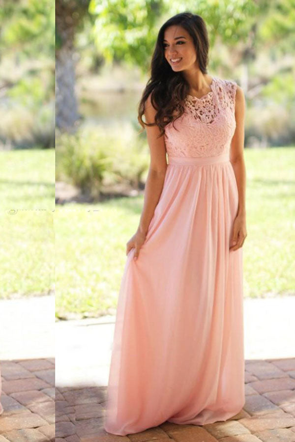 Pink Jewel Neck Sleeveless Prom Dress,A Line/Princess Appliques Evening Dress