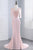 Pink Sheath Sweep Train Sheer Neck 3/4 Sleeve Sheer Back Appliques Prom Dress,Formal Dress