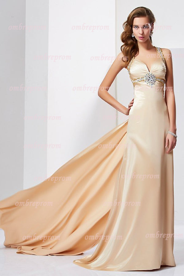 Sheath Court Train Halter Sleeveless Ruffles Silk like Satin Prom Dress,Party Dress