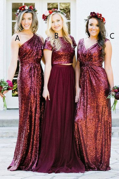 Burgundy A Line Brush Train Sparkle Cheap Bridesmaid Dresses,Wedding Party Dress