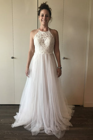 Halter Backless Cheap Wedding Gown,A Line Sweep Train Sleeveless Appliques Wedding Dress