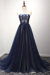 Navy A Line Sweep Train Straight Sleeveless Mid Back Lace Up Prom Dress,Party Dress