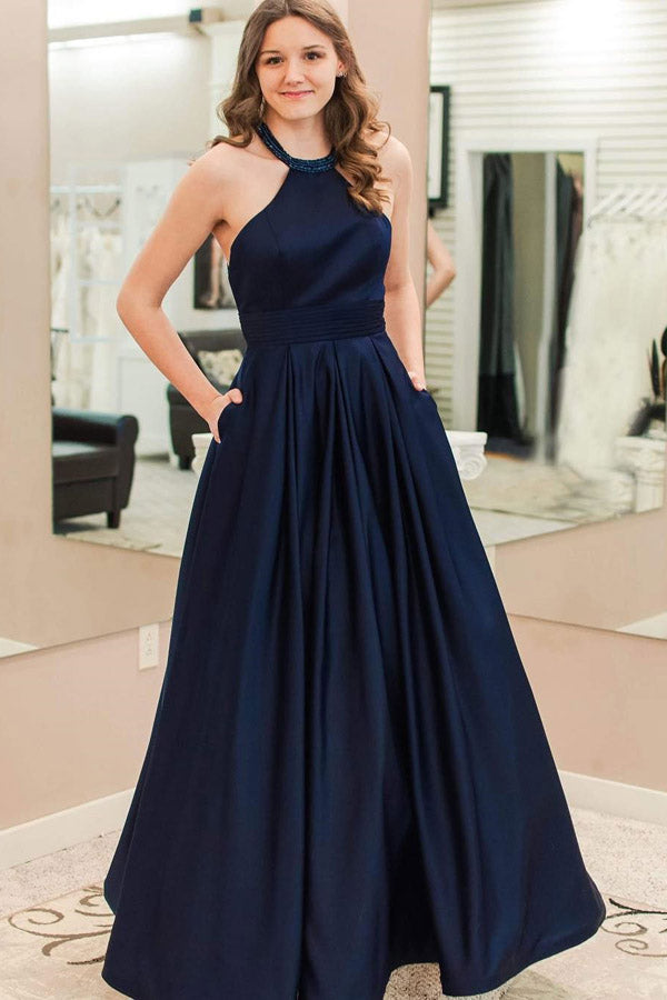 Blue A Line Floor Length Halter Sleeveless Prom Dress,Party Dress P486 - Ombreprom
