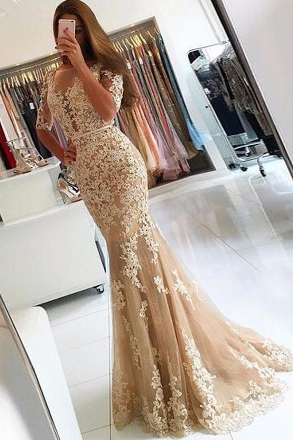 Sheath Sweep Train Scoop Neck Half Sleeve Lace Appliques Prom Dress,Party Dress