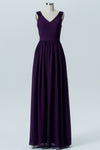 Plum Purple A Line Floor Length V Neck Sleeveless V Back Cheap Bridesmaid Dresses