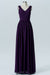 Plum Purple A Line Floor Length V Neck Sleeveless V Back Cheap Bridesmaid Dresses B197