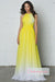 Ombre A Line Brush Train Halter Sleeveless Mid Back Chiffon Prom Dress,Formal Dress O22