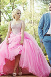 Pink A Line Brush Train Sweetheart Sleeveless Layers Tulle Beading Plus Size Prom Dresses