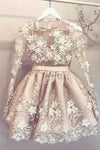 Sheer Jewel Neck Long Sleeve Homecoming Dress,Appliques Beading Short/Mini Prom Dress