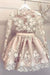 Sheer Jewel Neck Long Sleeve Homecoming Dress,Appliques Beading Short/Mini Prom Dress H246